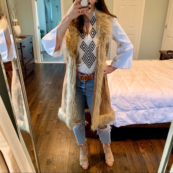 Wilsons Leather Jackets & Blazers - Long Suede Boho Furry Vest Vintage